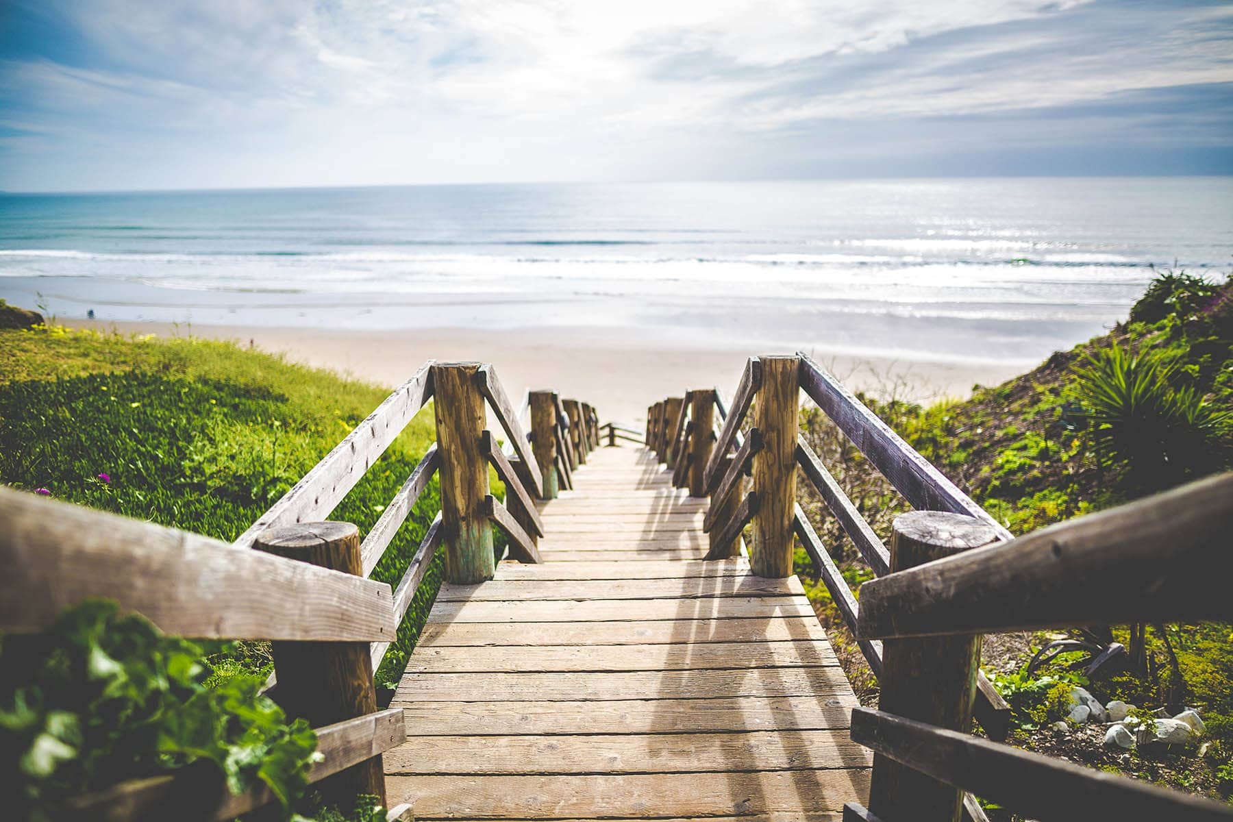 Wooden steps down to the beach